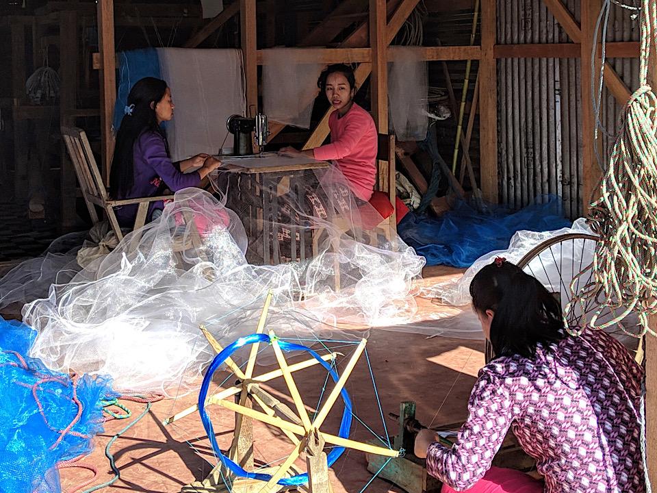 Loktak lake net making