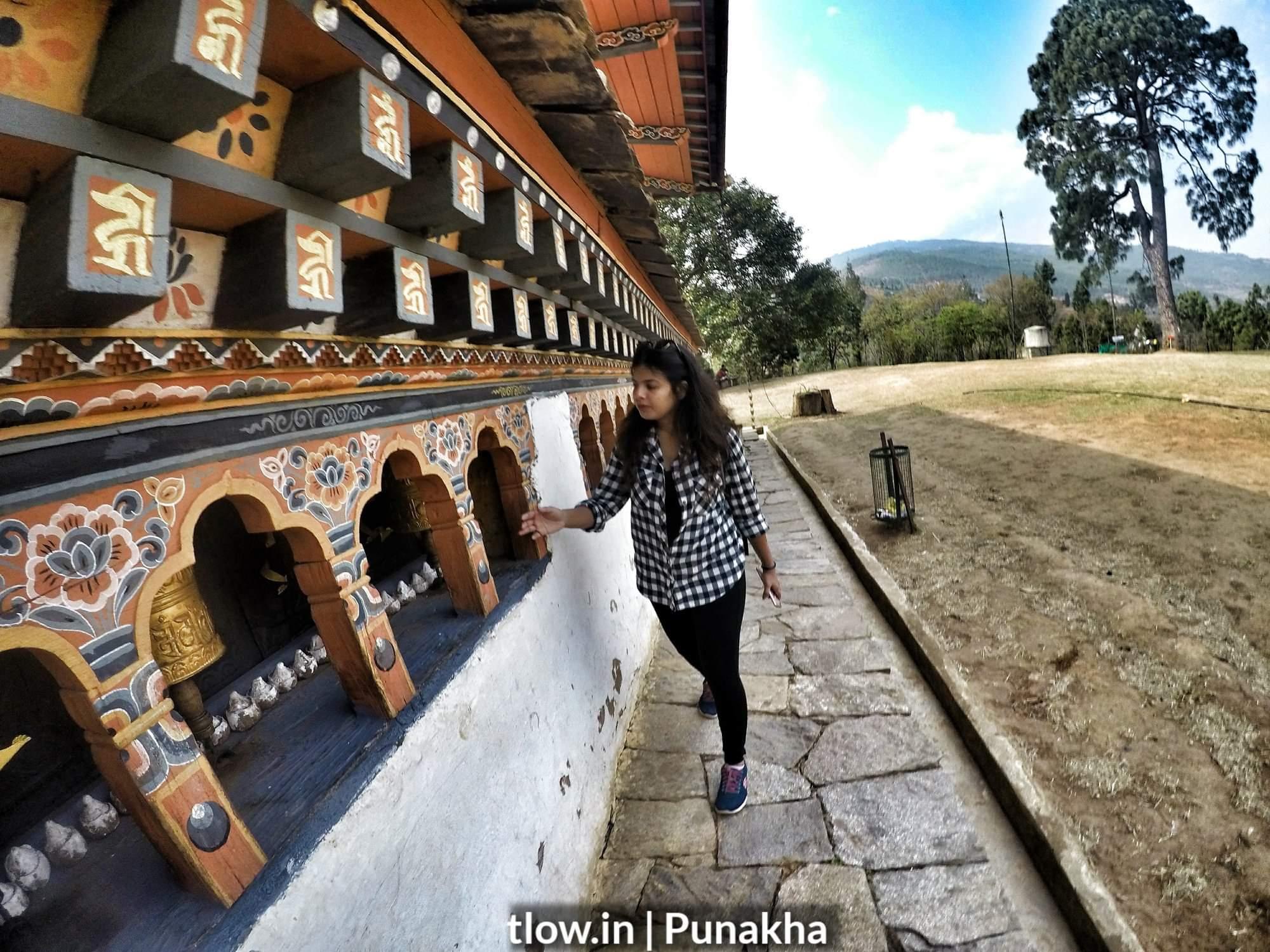 Prayer wheels in Punakha