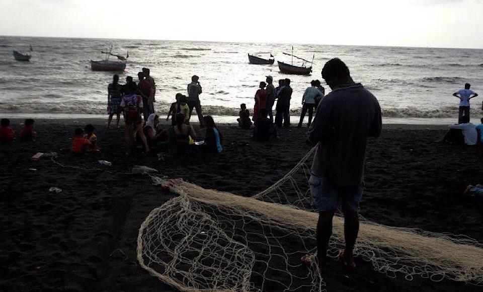 Fisher man with his net at Nani Daman