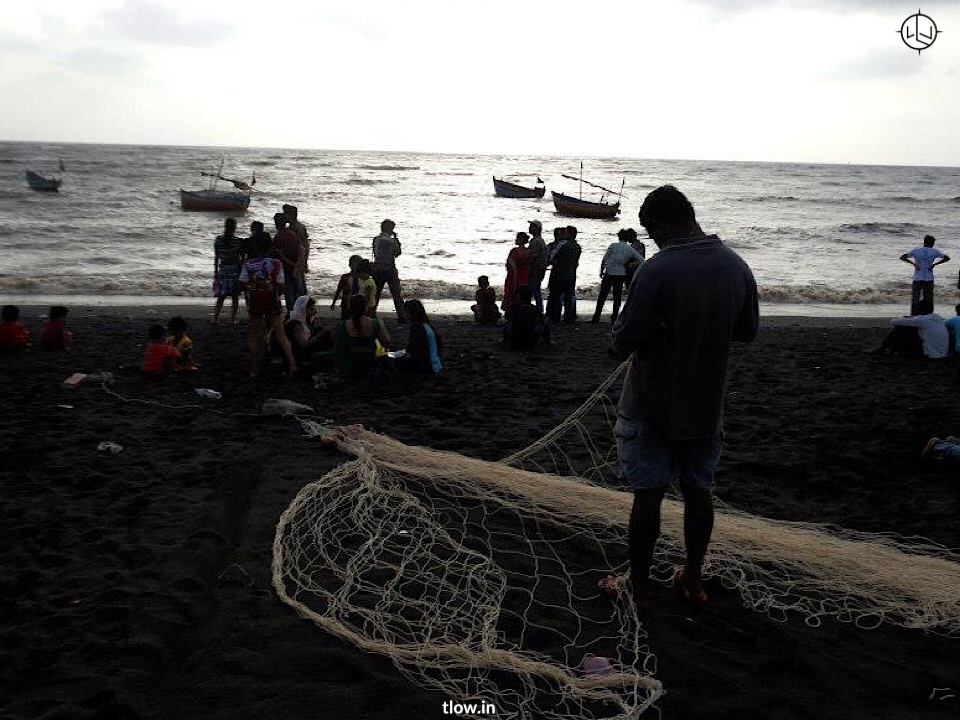 Fisher man with his net at Nani Daman