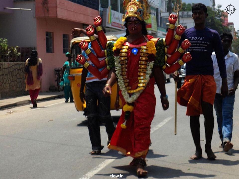 Men dressed as a Devi in Pondicherry