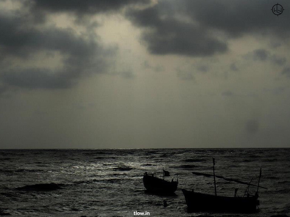 The boats at sunset in Daman
