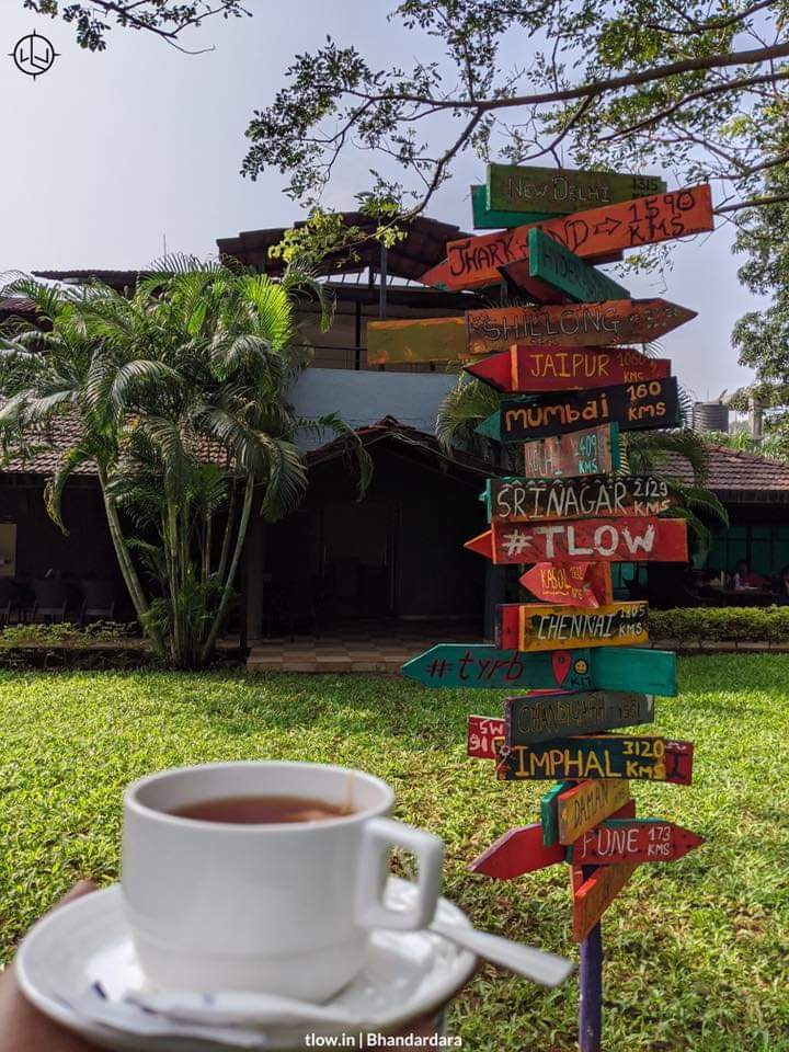 Distance board with chai cup