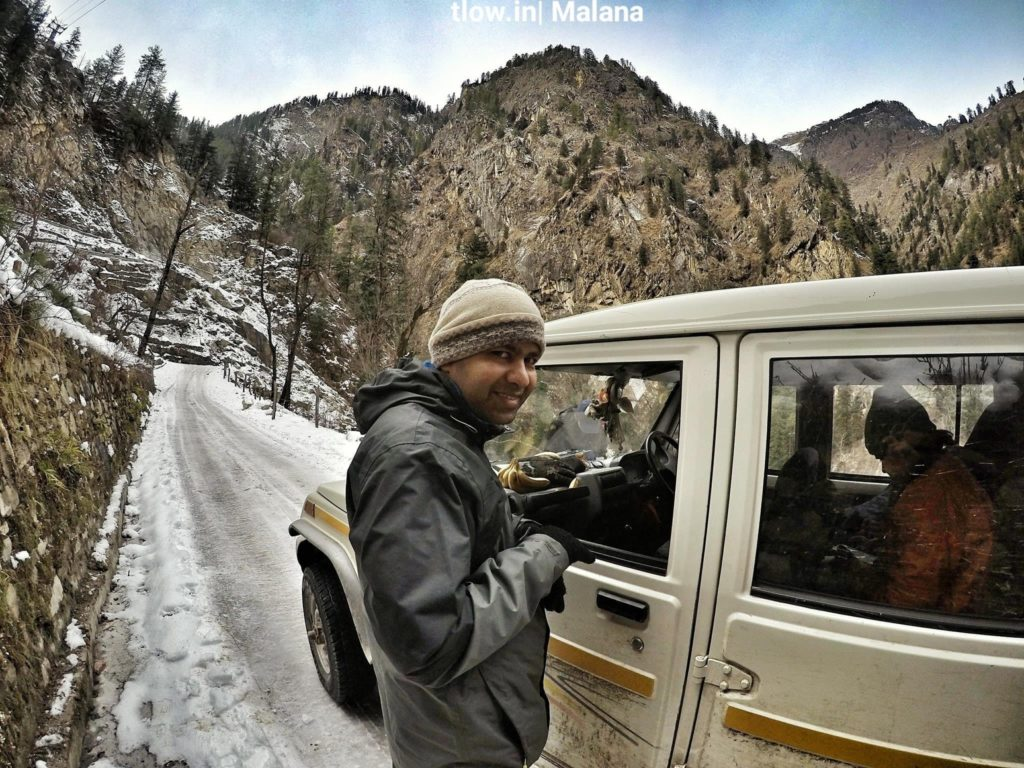 Taxi ride to Malana in winter