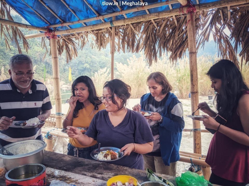 Dawki Meghalaya camping lunch